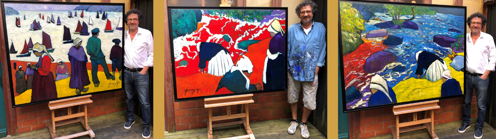 L'artiste Avner en Bretagne dans sa galerie de Pont-Aven devant certains de ses tableaux figuratifs expressionistes fauvistes contemporains